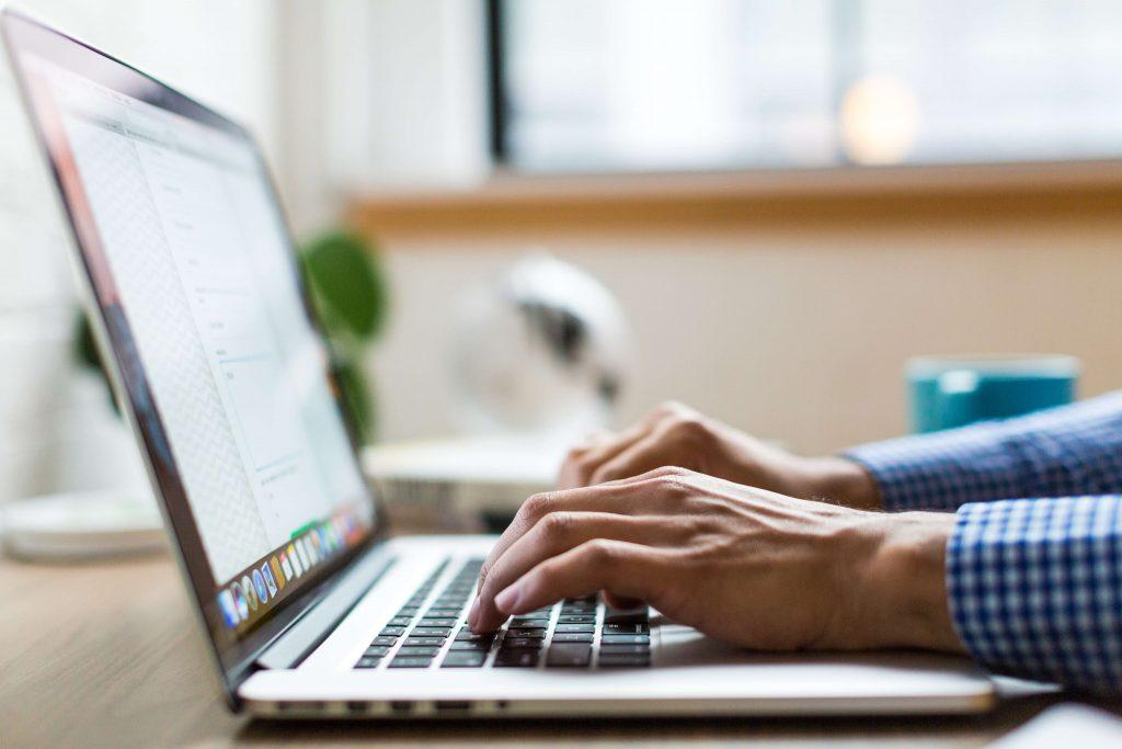 Man working on website