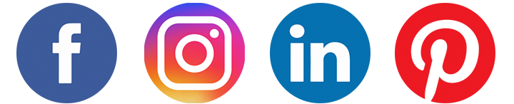 social media logos including fb, instagram, linkedin and pinterest