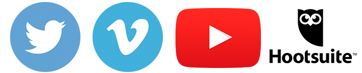 Social media logos including twitter, vimeo, youtube and hootsuite
