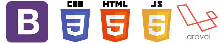 Bootstrap, CSS 3 HTML 4 JS 5 and laravel logos